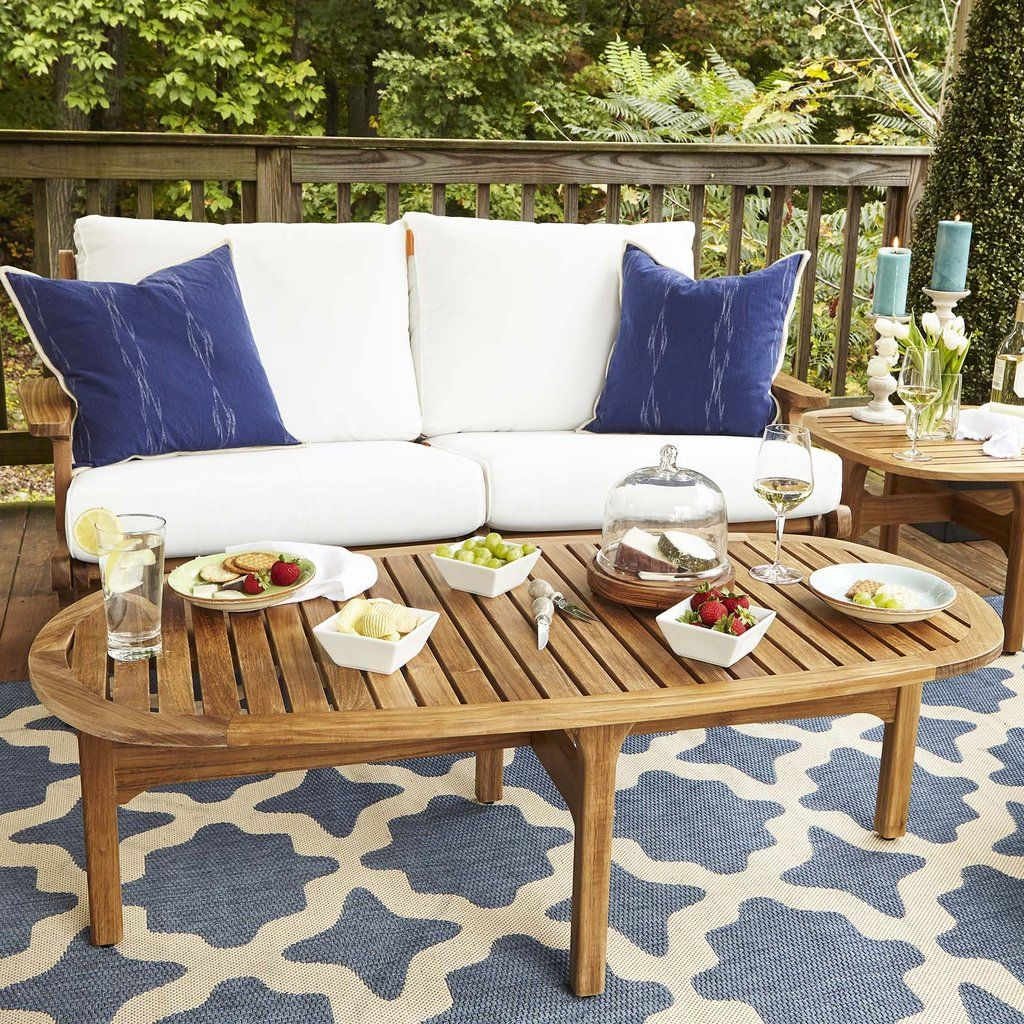 Modway Saratoga Outdoor Patio Premium Grade A Teak Wood Oval Coffee Table Natural Oval Wood Coffee Table Oval Coffee Tables Wood Patio Furniture