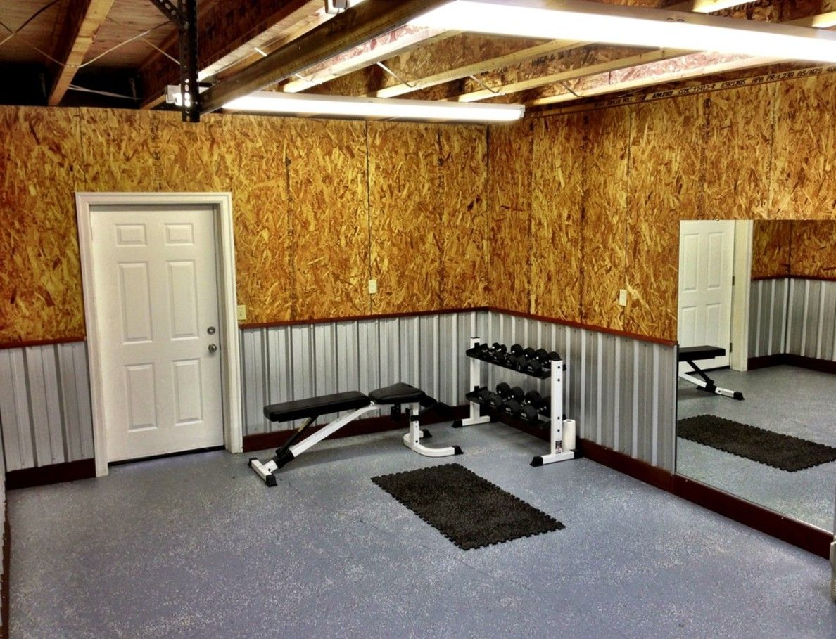 Home Gym Ideas Basement Pinterest Garage Plywood Walls