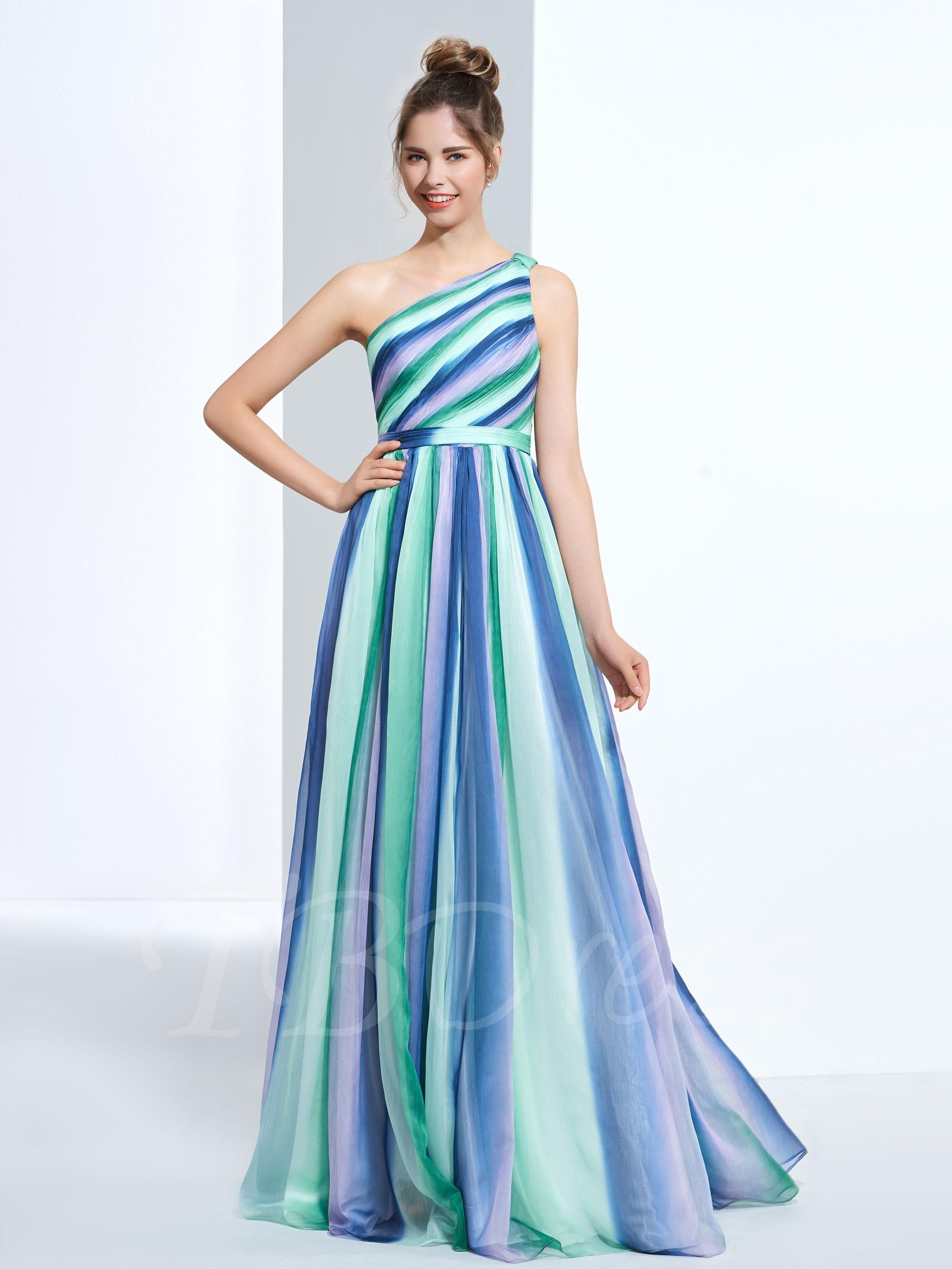 TBDress - TBDress A-Line One-Shoulder Pleats Printed Long Prom Dress ...