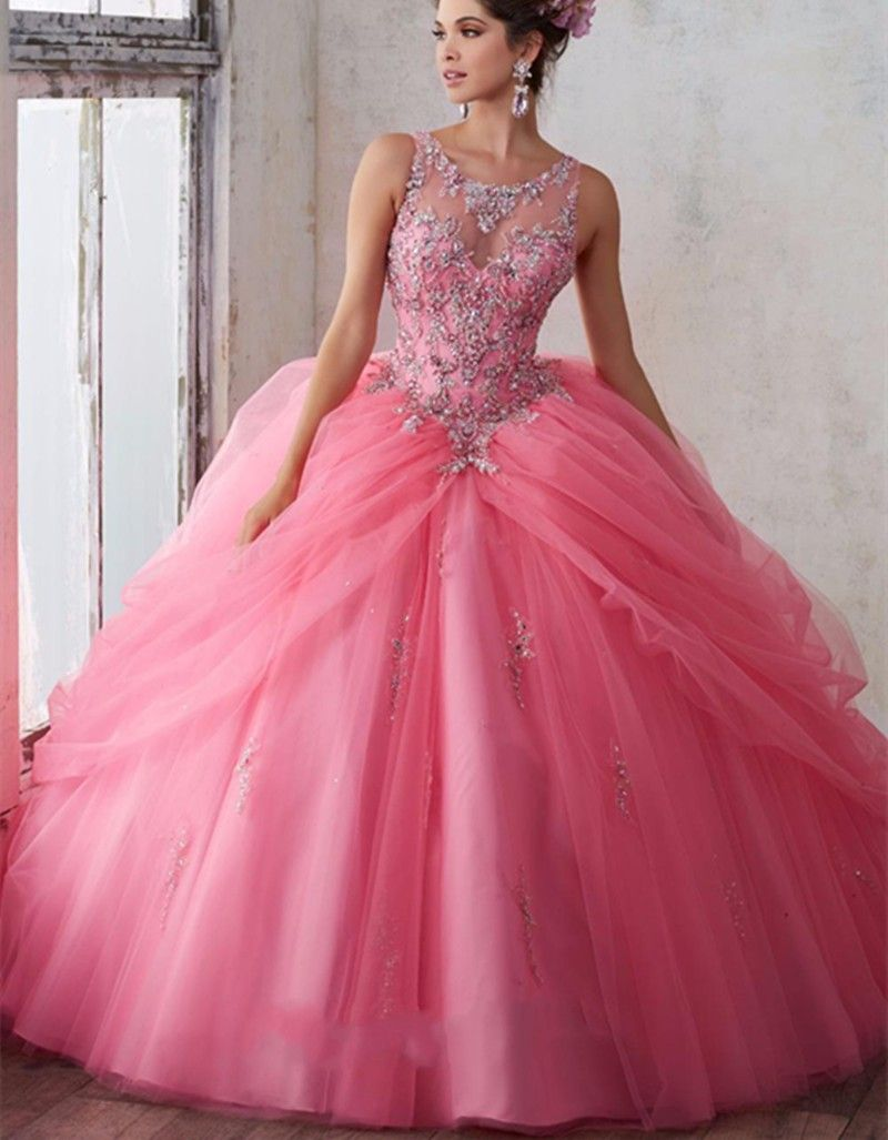 vestidos de 15 Hot Pink Quinceanera Dresses 2017 Appliques Beaded ...