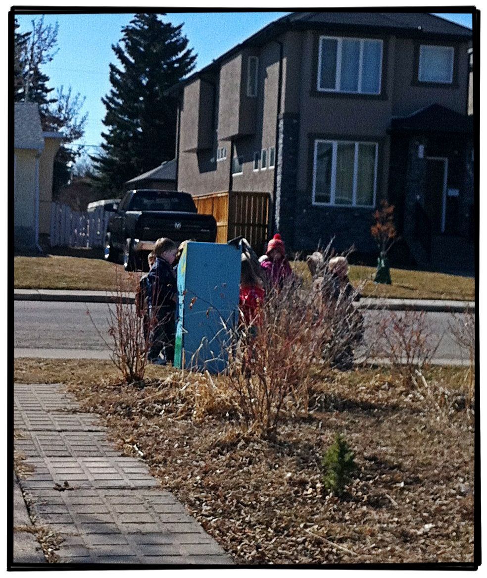 Our library getting raided by a local gang of hoodlums. Rough neighbourhood :) #rosscarrock #littlefreelibrary