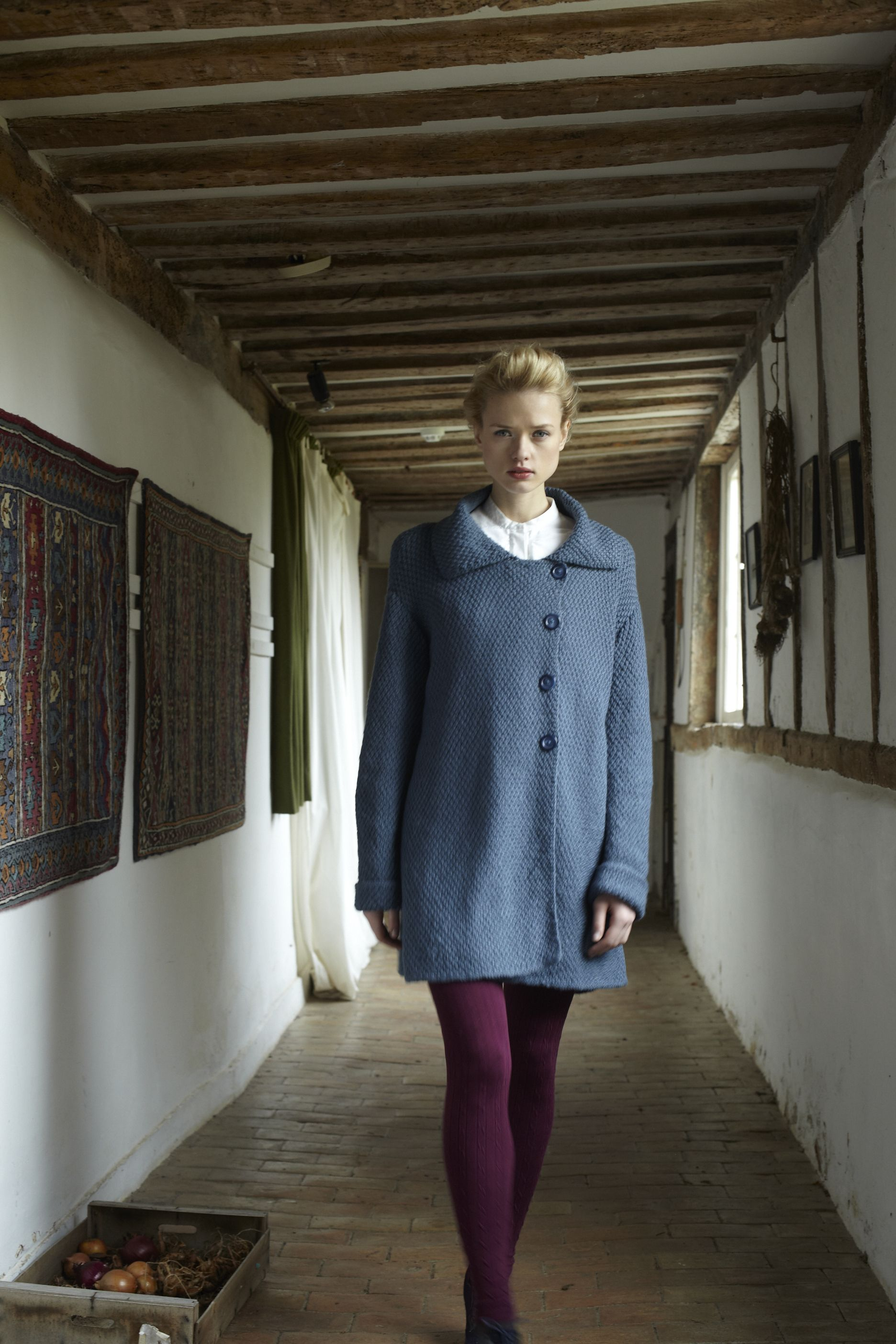 irish moss stitch coat from the blue faced leicester book debbie