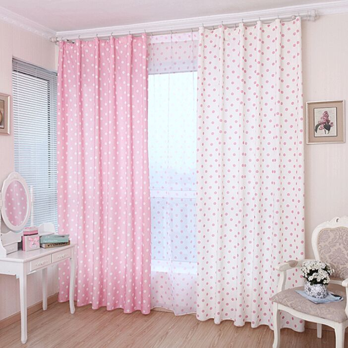 Lovely Pink Cotton Fabric Kids Curtain With Polka Dots Pattern