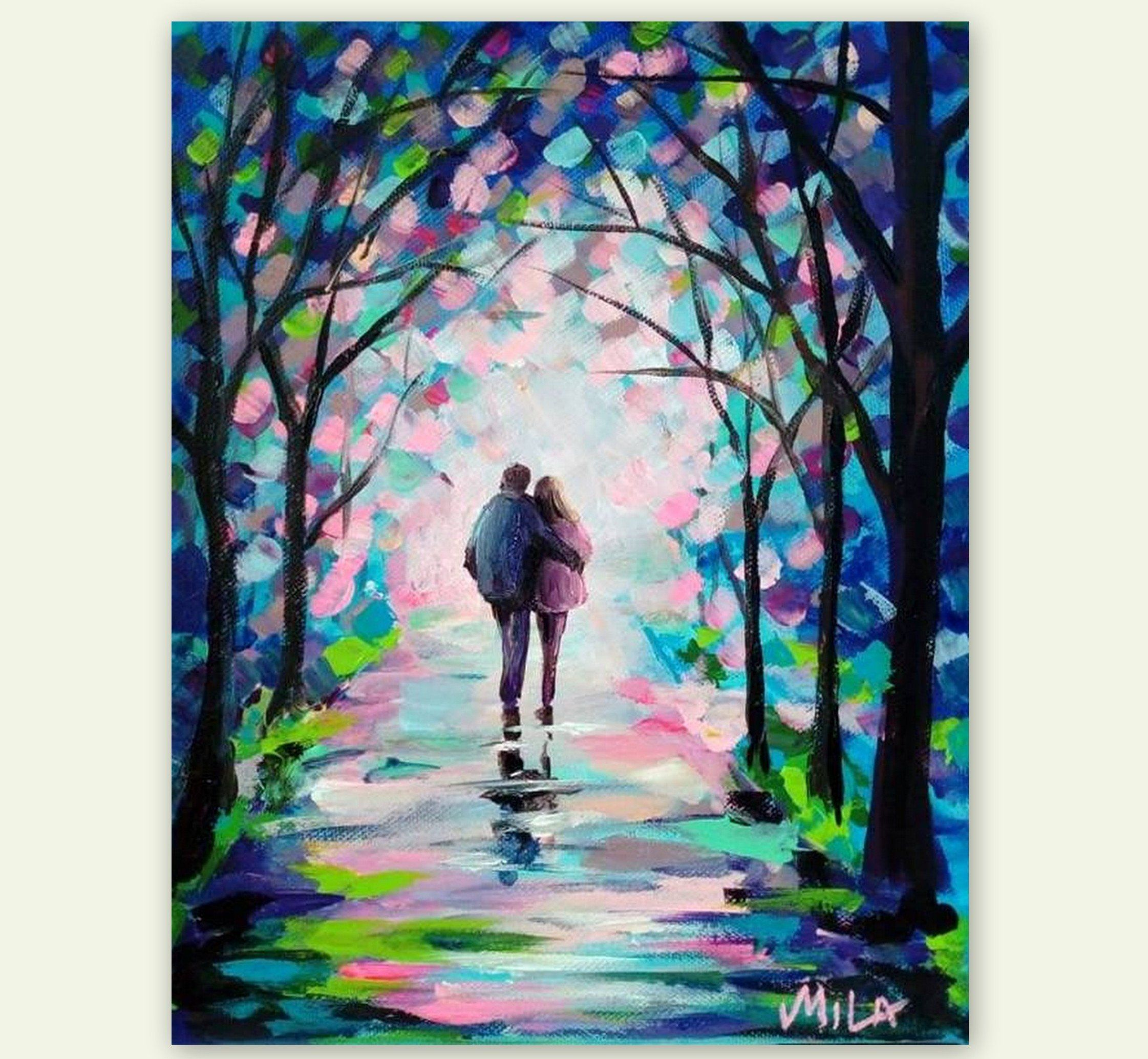 Romantic landscape couple in love original romantic acrylic painting wall art canvas painting by artsunday on etsy