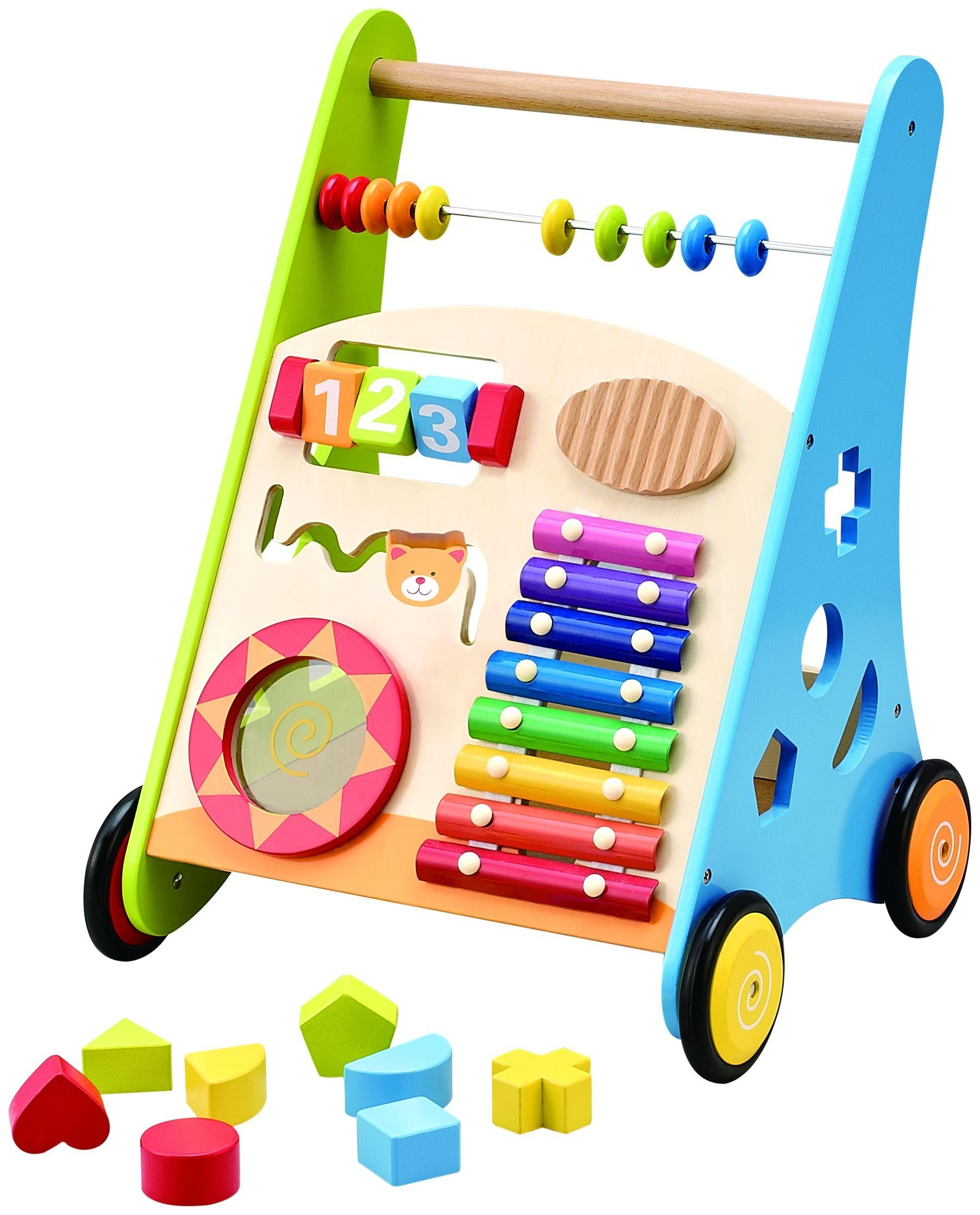 Kids Wooden Baby First Walker Activity Push Wagon Baby Safely Walking Toys Fun