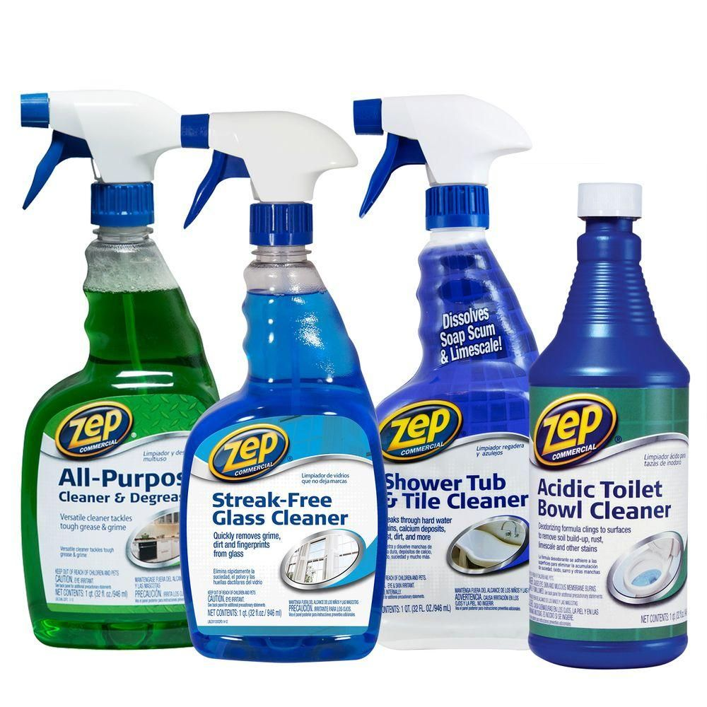 Zep Bath Cleaning Kit 4 Pack Zubrkit The Home Depot Bath Cleaning Cleaning Cleaning Supplies