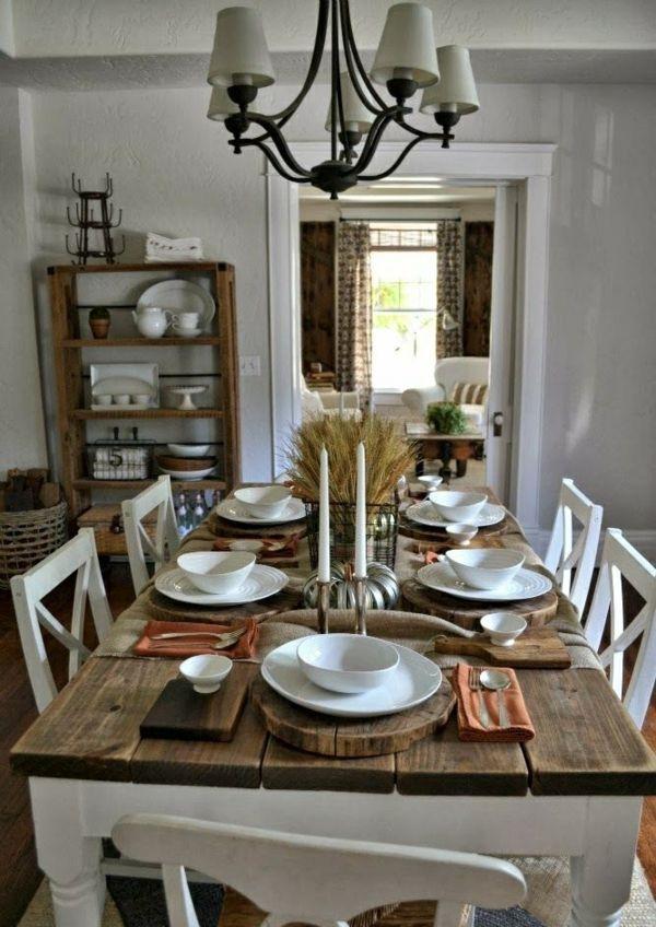25 Beautiful Fall Table Settings U2014 Style Estate Rustikale Esszimmer, Esszimmer  Landhausstil, Gemütliche Weihnachten