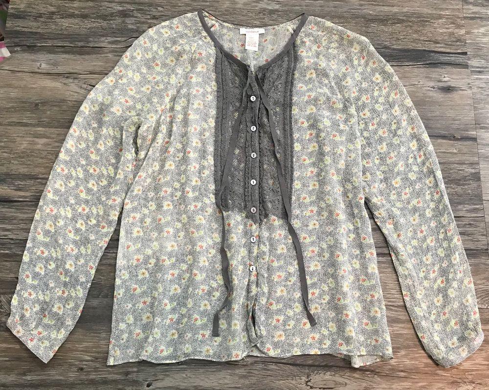 58608ac27b0c49 Sundance Silk Blouse Floral Long Sleeve Womens Sz L