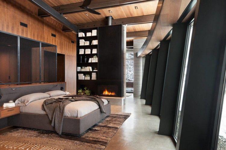 schlafzimmer scharz braun einrichten holz wand decke kamin