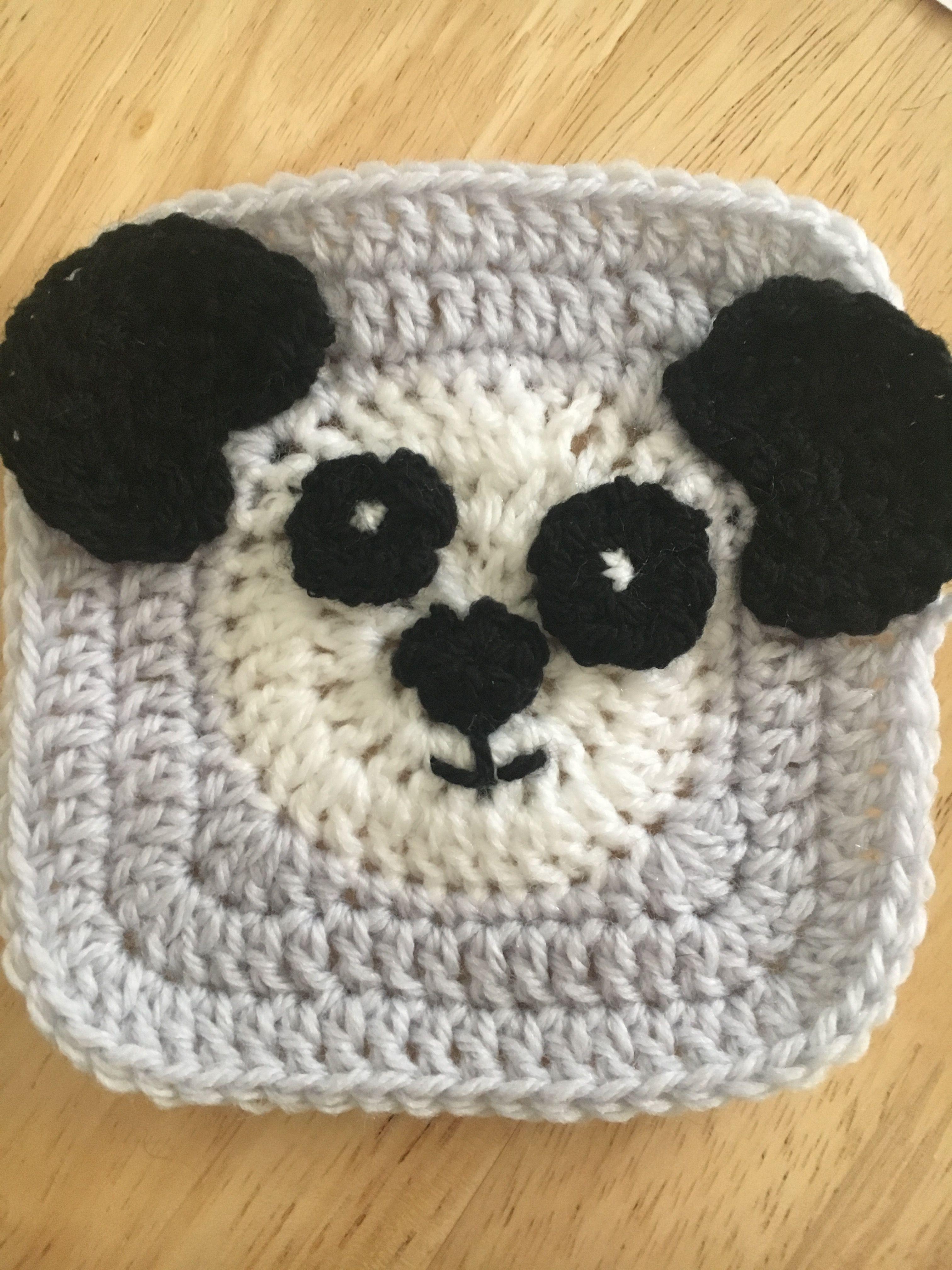 Crochet panda granny square | Stuff I\'ve made | Pinterest | Crochet ...