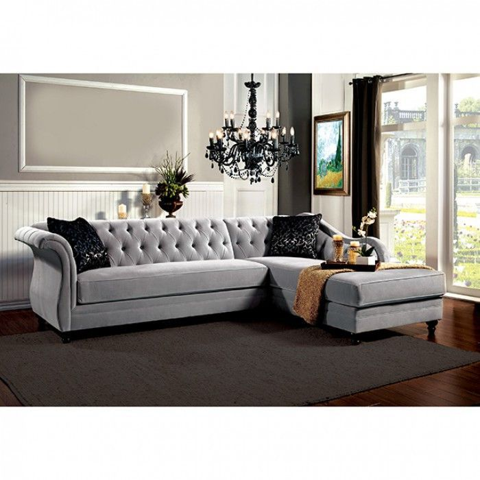 Sectional Sofa Rotterdam Collection Tufted Sectional Sofa Grey Sectional Sofa Furniture Of America