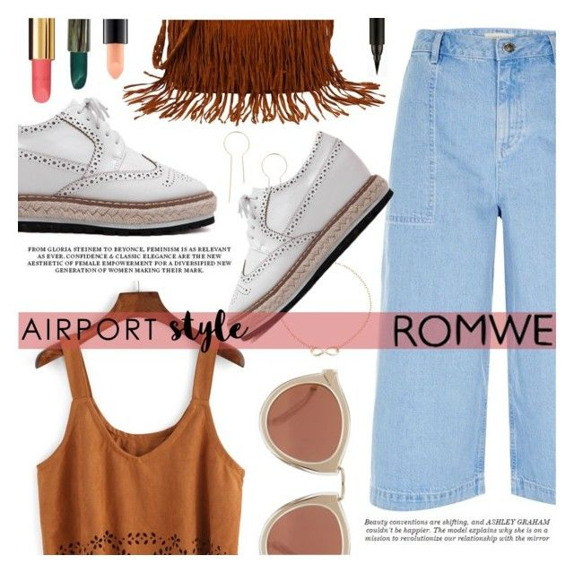 """""""Airport Style"""" by tasnime-ben ❤ liked on Polyvore featuring River Island, Karen Walker, Ashley Graham, Chanel, MAC Cosmetics and romwe"""