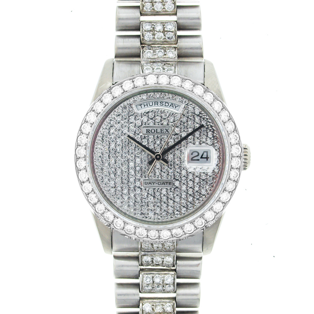 Rolex Mens President White Gold Pave Diamond Face Bezel Band More Rolex And