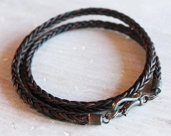 Mens Leather Bracelet with darkened by ChickpeaDesignStudio