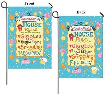 "Grandparents House Rules Inspirational Garden Flag - Size: 12""""x18"""""