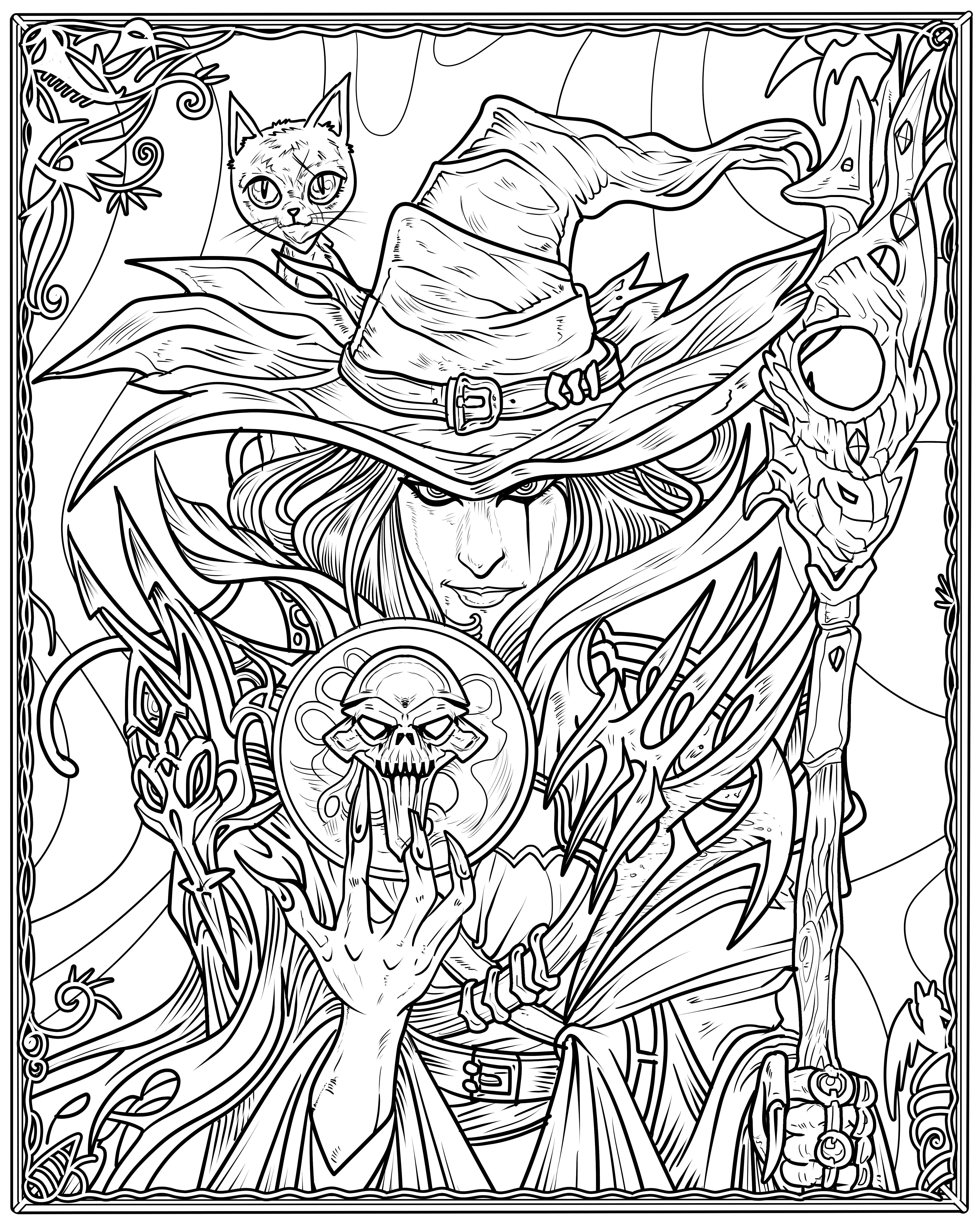 Witch Coloring Page Halloweencoloringpages Witch Coloring Page Witch Coloring Pages Cool Coloring Pages Spring Coloring Pages