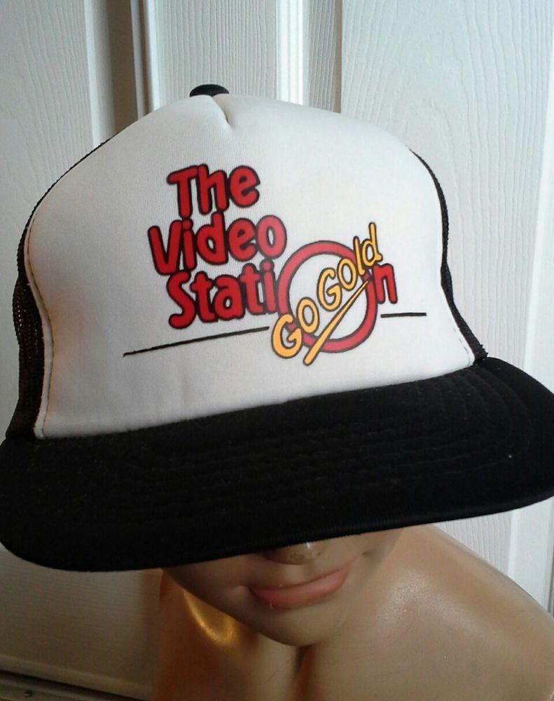 ca4158f3d59b3 Vintage Trucker Hat Snapback Mesh The Video Station Go Gold Black  Trucker