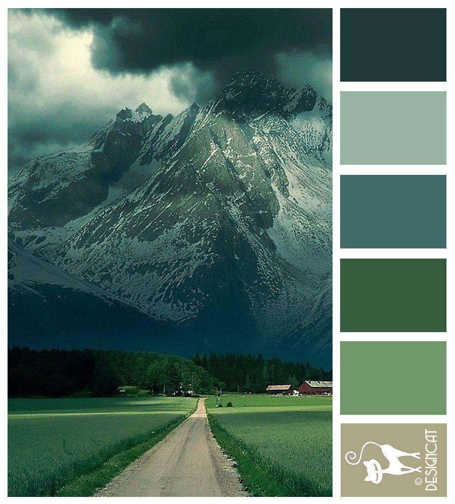 Alps Road Green Forest Teal Blue Grey Designcat