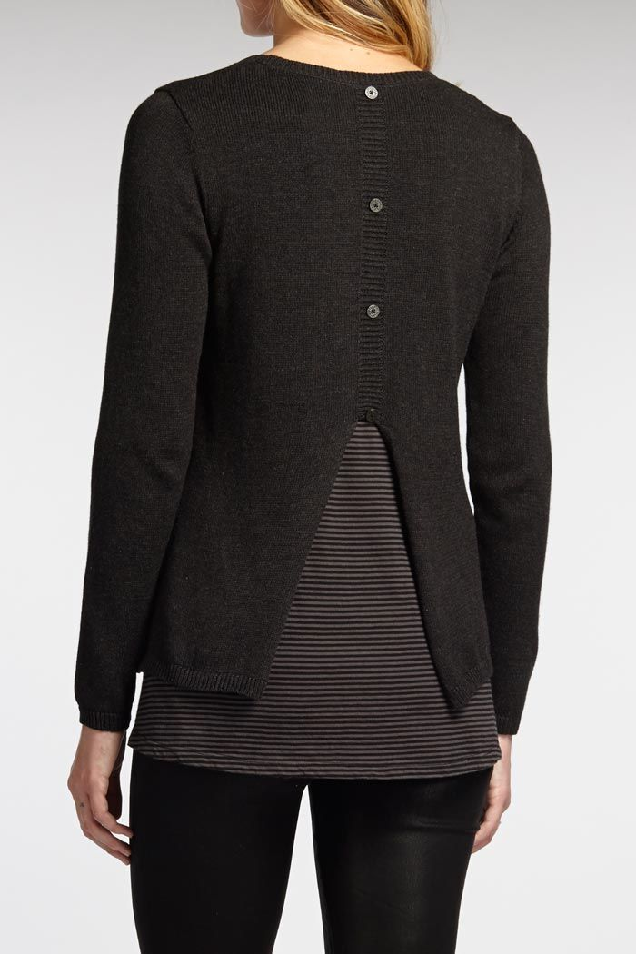 Back button detail on organic cotton knit sweater by