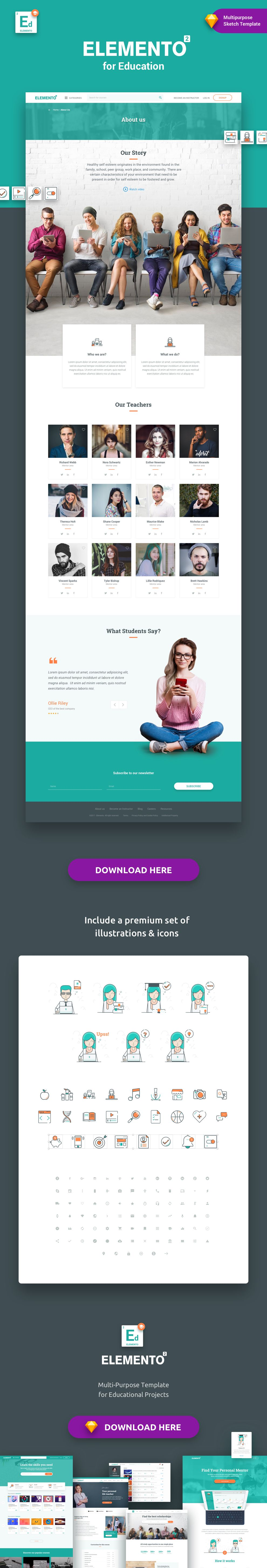 Elemento for Education Sketch Template Education, Web