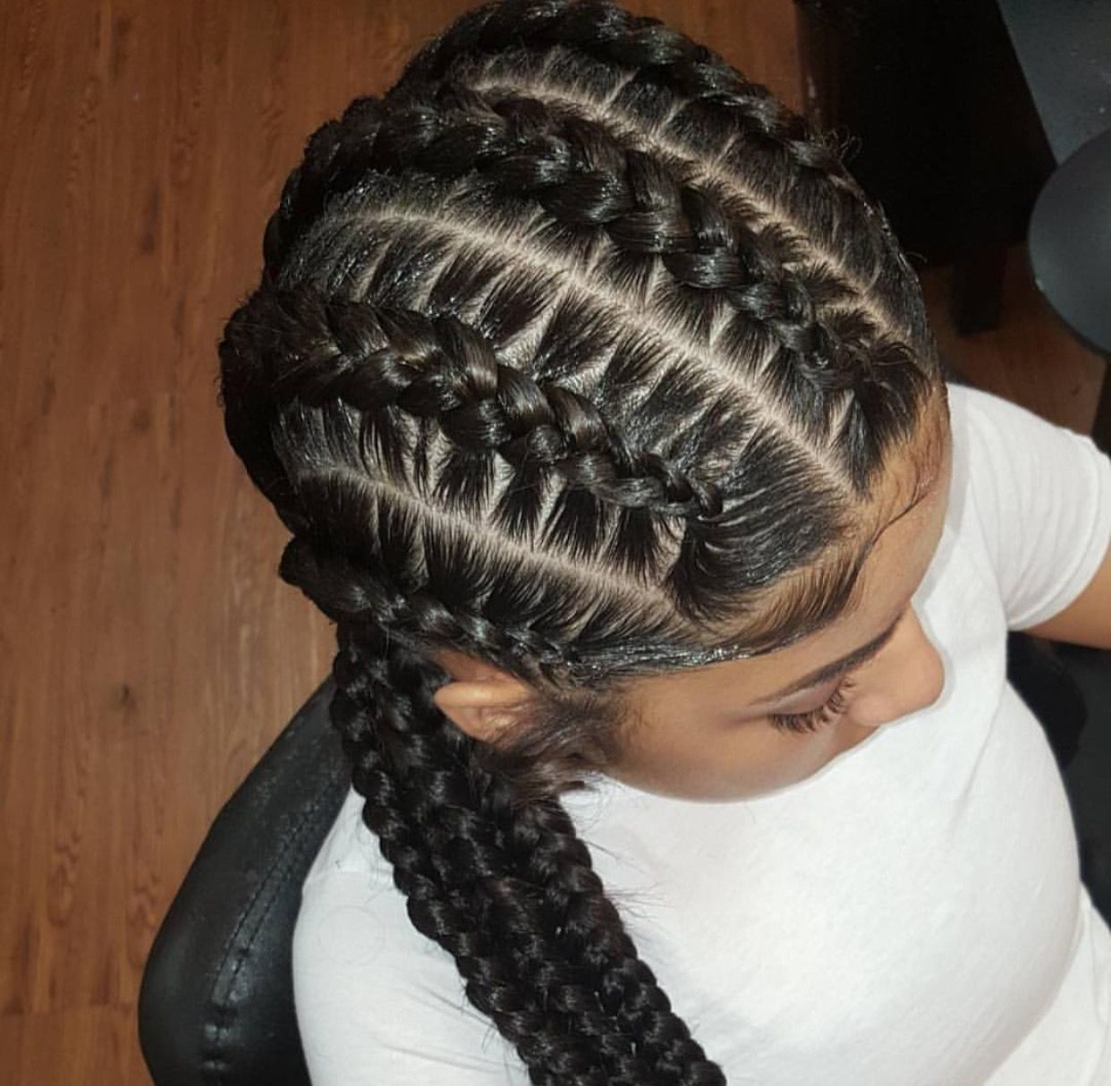 Feed In Braids  fugzy  Braids  Pinterest  Hair style Black