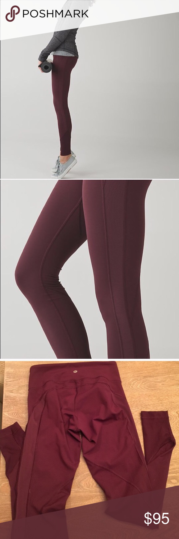 Lululemon Drop It Like Its Hot leggings 4 burgundy Lululemon drop it like its hot leggings in size 4, burgundy with opaque mesh paneling down the sides. Worn and washed once. I think I'm really more of a plain black yoga pants person, so these are ready for a new home. Luxtreme fabric. lululemon athletica Pants Leggings