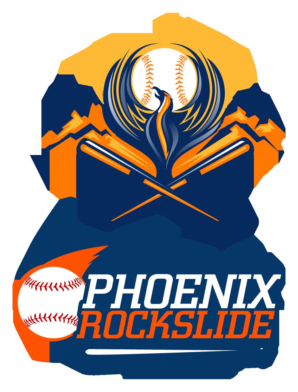 Phoenix rockslide baseball logo design sports art