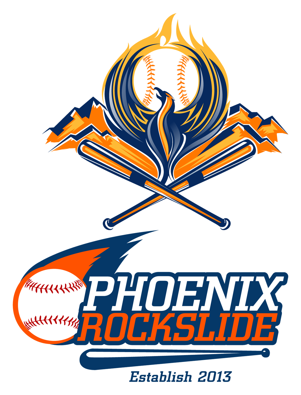Phoenix Rockslide. baseball logo design. Sports logo