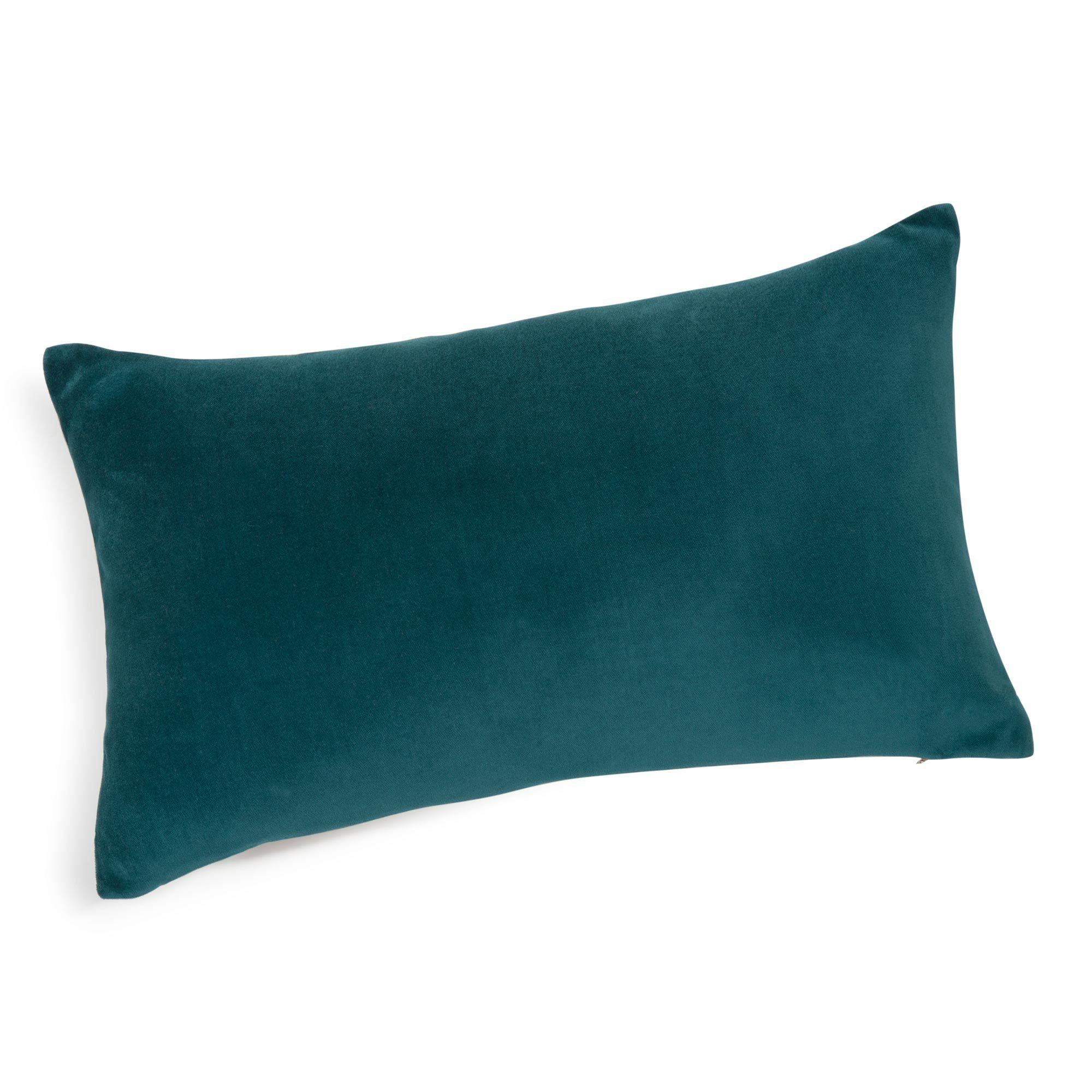 Coussin Bleu Turquoise #13: Coussin En Velours Bleu Canard 30 X 50 Cm