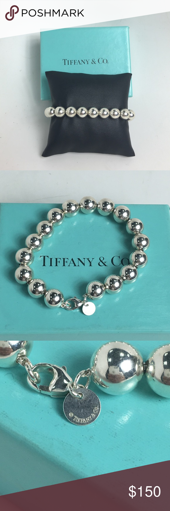 7238157b2 Tiffany & Co bead bracelet 10mm Lovely Tiffany & Co bracelet bead style.  10mm beads 7.5 inches long. This item is a authentic sterling silver T&C  product.