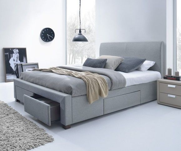 Jersey King Storage Bed Frame In Light Grey Beds Online Beaches