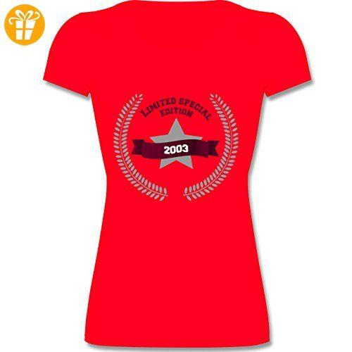 Geburtstag - 2003 Limited Special Edition - L - Rot - F288N - Kurzarm T-Shirt für Damen mit weitem Rundhalsausschnitt (*Partner-Link)
