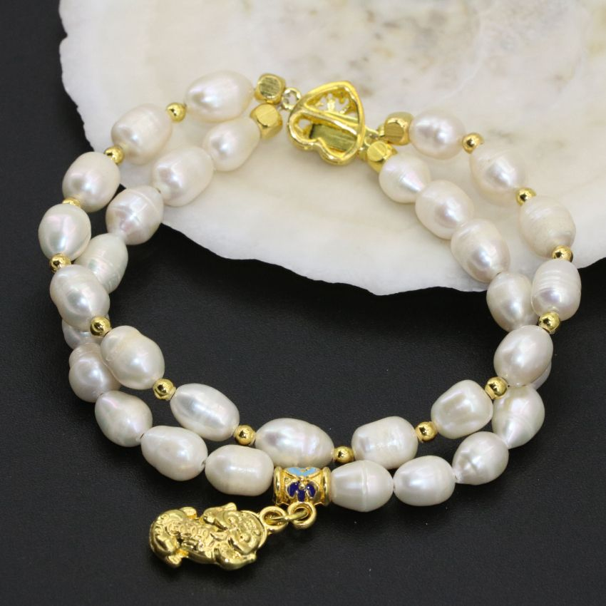 7-8mm white natural freshwater cultured barrel rice pearl two rows clasp bracelets original design charms jewelry 8inch B2759