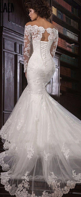 Romantic tulle offtheshoulder neckline mermaid wedding dress with
