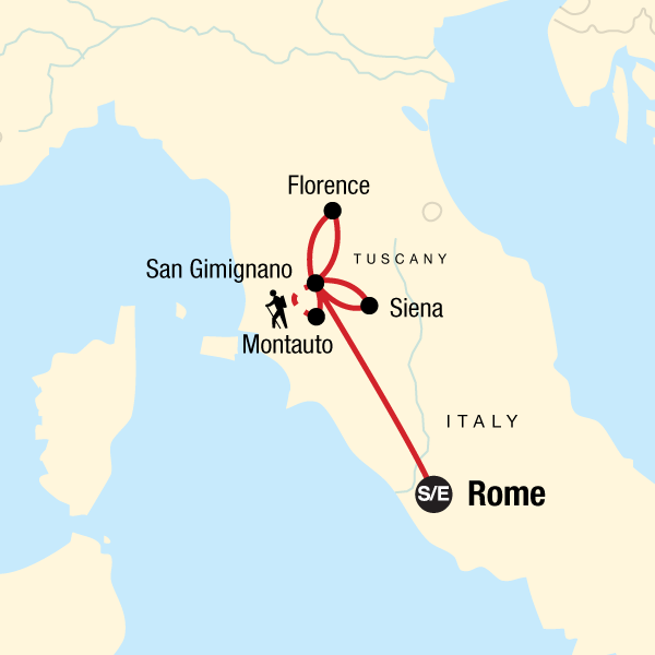 Map Of The Route For Local Living Italy Tuscany San Gimignano San Gimignano San Gimignano Italy Italy