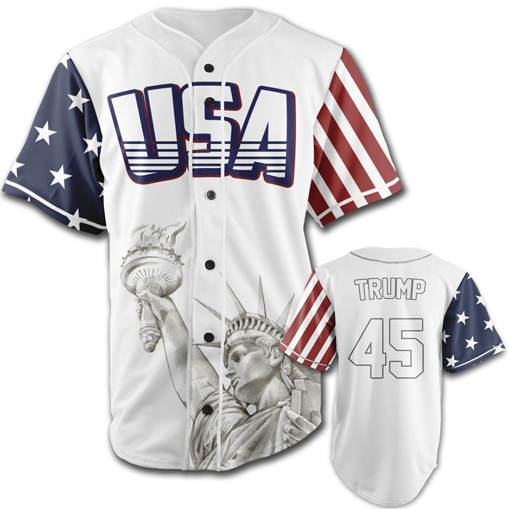 7f1e9aafd41 White Trump  45 Baseball Jersey in 2019