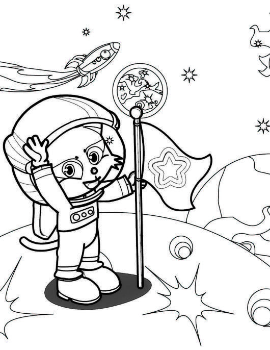 Astronaut On The Moon Coloring Picture For Boys And Girls Mermaid Coloring Pages Moon Coloring Pages Space Coloring Pages