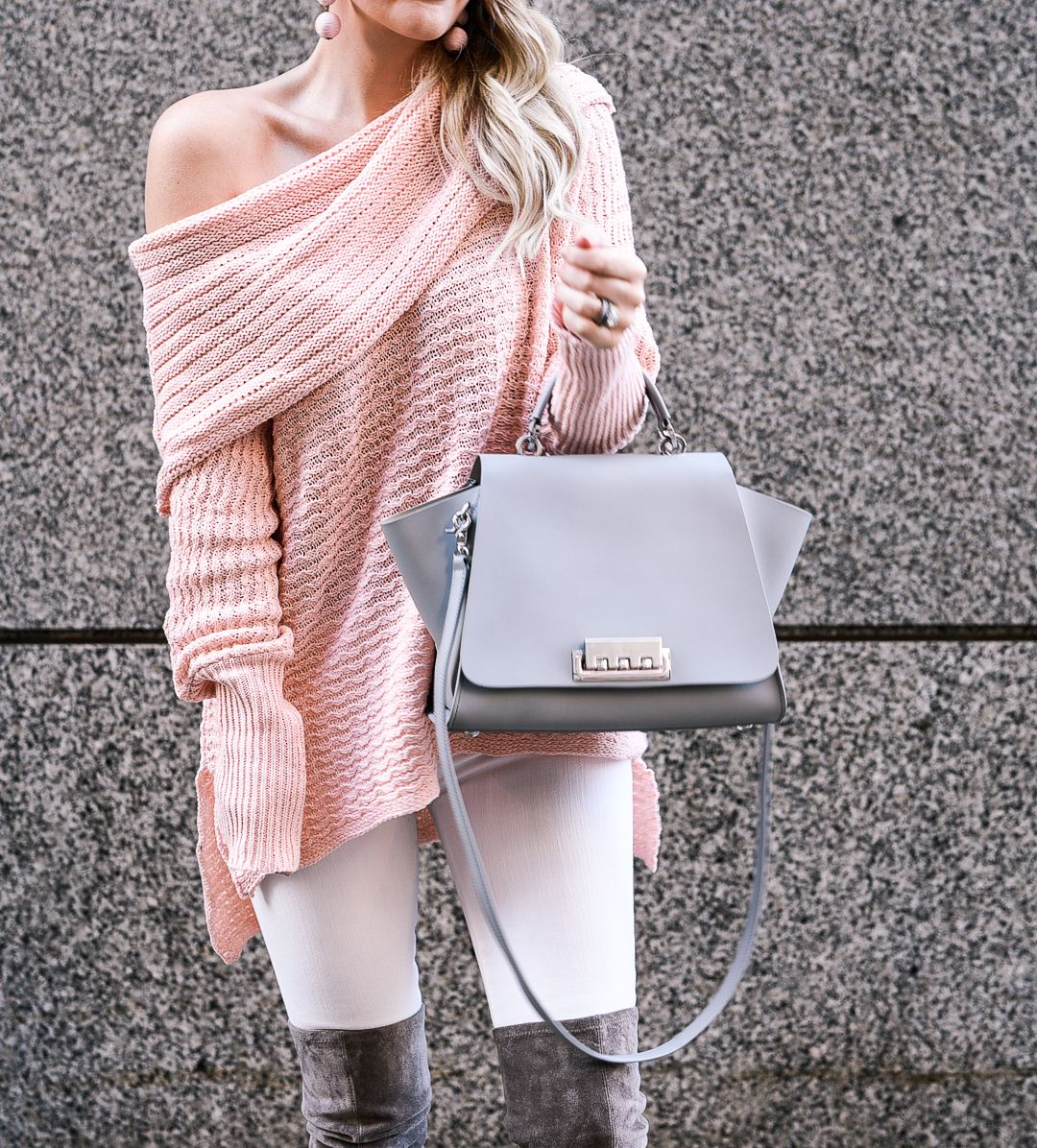 Blush Pink Off the Shoulder Sweater with Goodnight Macaroon ...