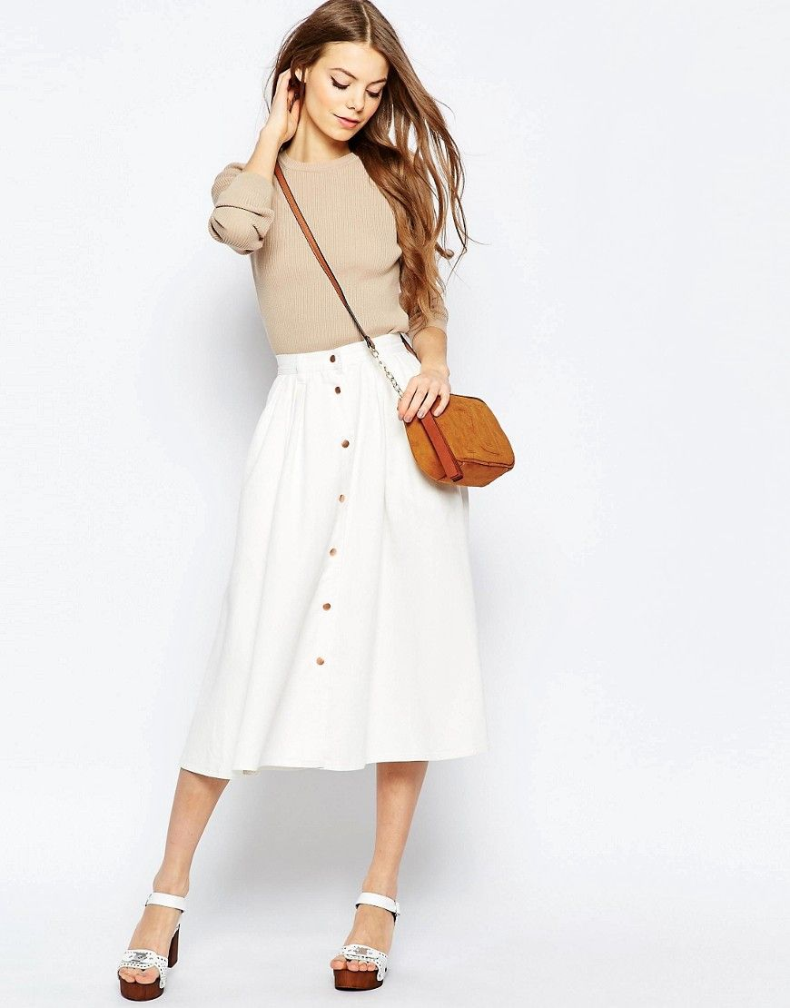 ASOS Denim High Waisted Button Through Midi Skirt in White | Style ...