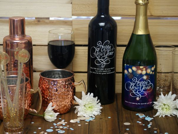 new years eve bar personalized wine bottles new years eve gifts presents custom wine labels etched