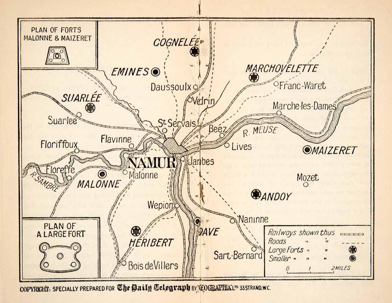 1914 lithograph map battle lige belgium world war i forts railway xej1