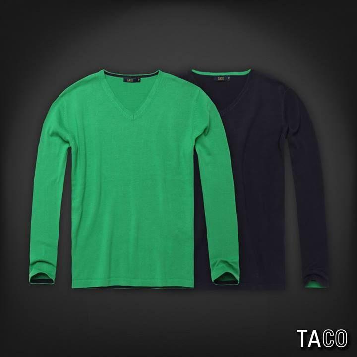 Suéter gola v 100% algodão com viés contrastante na gola e nas mangas.