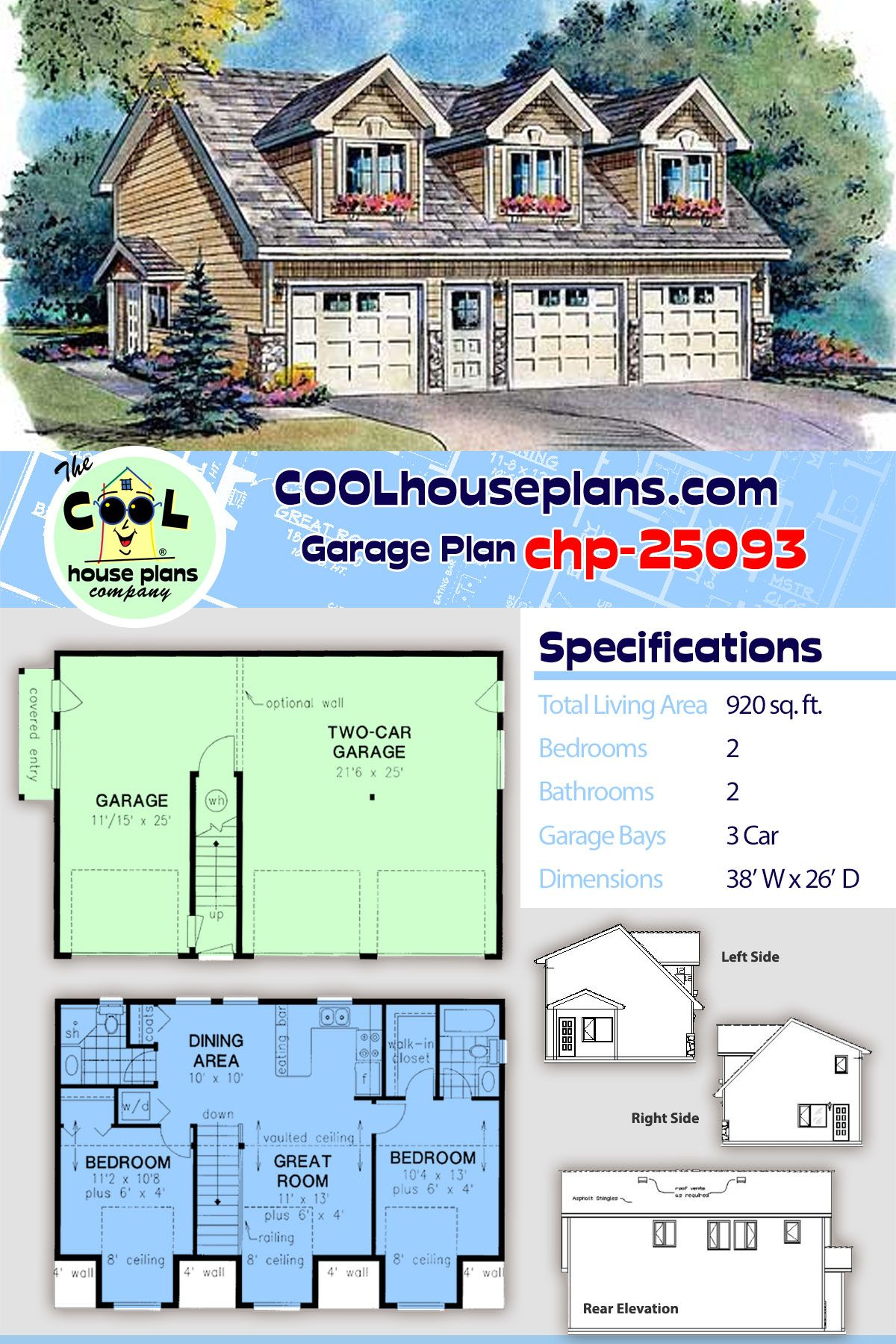 Garage Apartment Plan chp is a Classic 2 Bedroom Carriage House Design