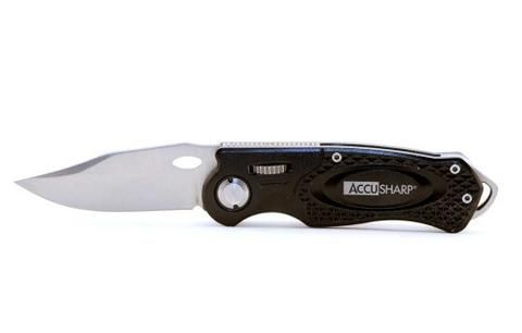 AccuSharp Model 703C, Folding Sport Knife, Belt Clip, Aluminum, Black - Endless Box - 1