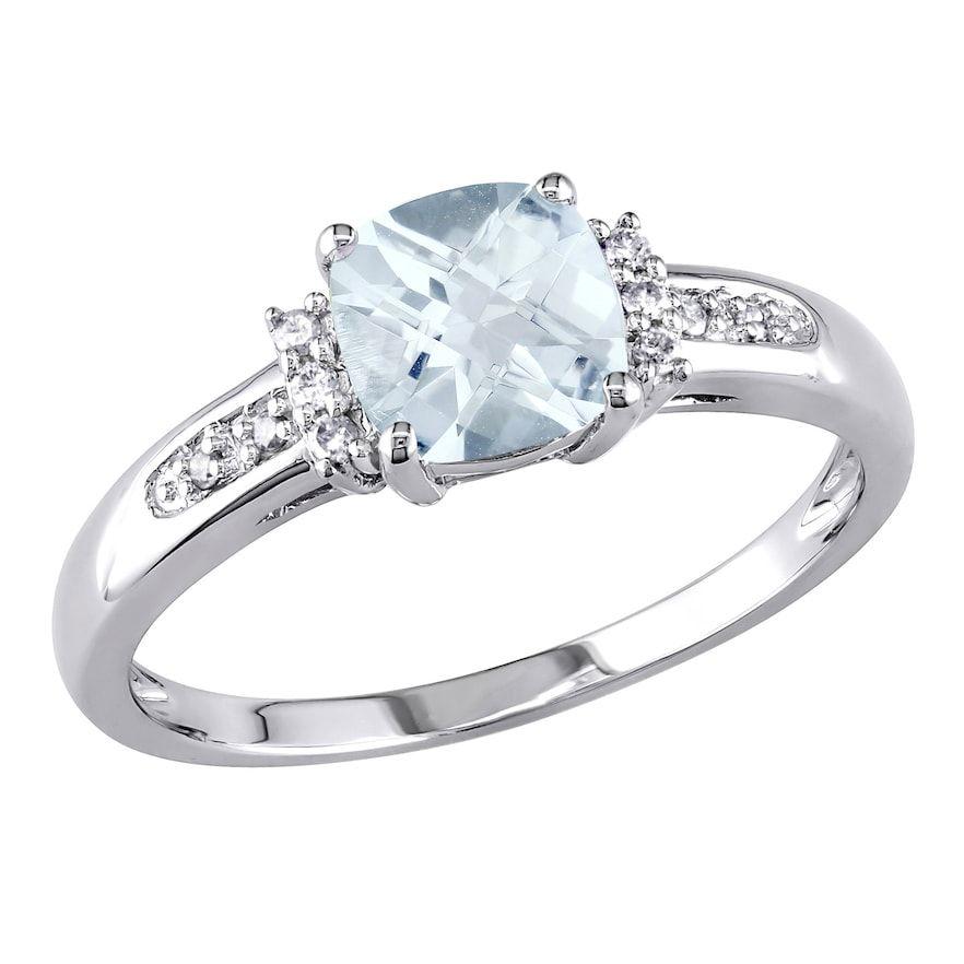 Stella Grace 10k White Gold Aquamarine Diamond Accent Ring Women S Size 7 Blue White Diamond Ring Silver Ring Designs White Gold Rings