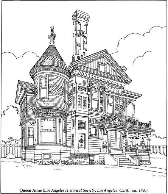 Arquitectura Antigua Pintar Paginas Para Colorear Libros Casas Victorianas Dibujo Urbano Arte De Color Terapia Del