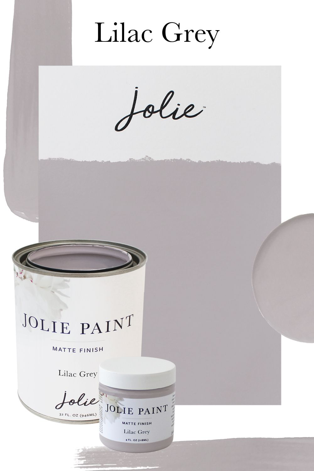 Lilac Grey   Jolie Paint is part of Grey purple paint, Lilac grey, Office paint colors, Purple paint colors, Lilac grey paint, Paint colors for home - Jolie offers an endless array of colors  Choose a single color or create your perfect custom mix