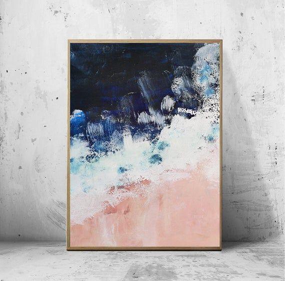 Blush pink nautical set of 2, Navy Indigo Ocean art, Navy Blue Wall Art, Abstract coastal print, Pink beach, ocean pink white blue