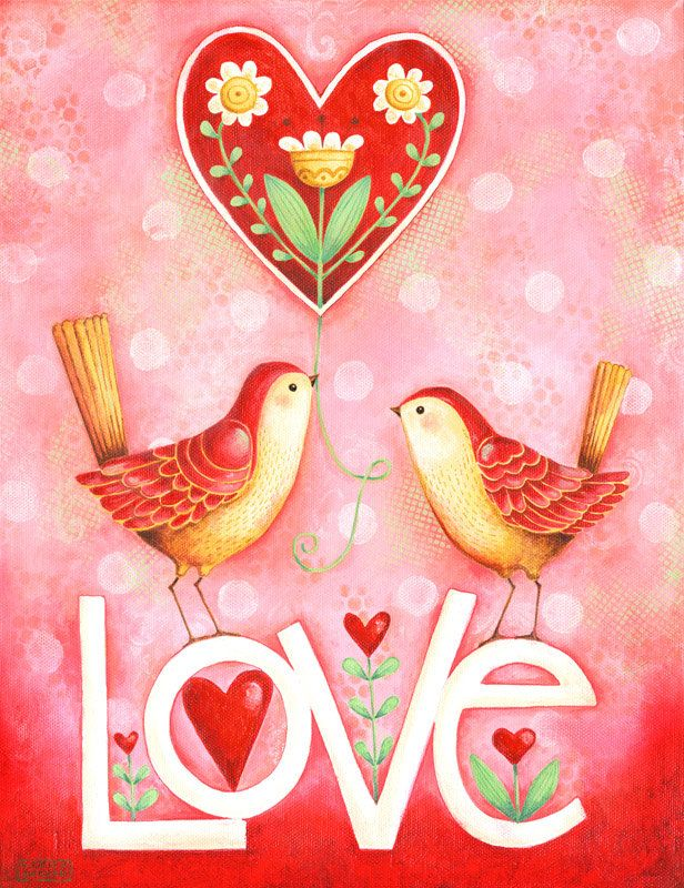Two Little Love Birds Hand Lettered 8x10 or di karladornacher