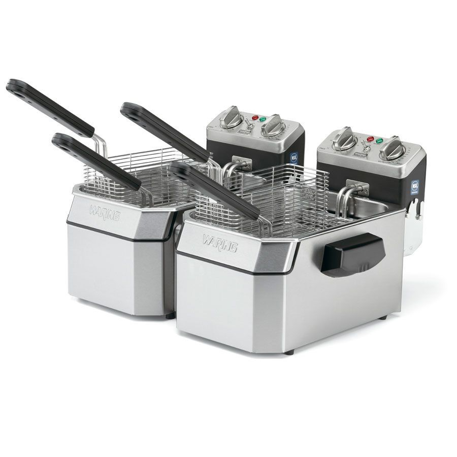 Waring Wdf1550d Double 15 Lb Commercial Countertop Deep Fryer Set